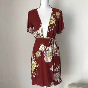 ASTR the Label Floral Red Wrap Mini Dress
